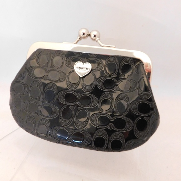 Coach Handbags - Coach Embossed Liquid Gloss Kisslock Coin Purse
